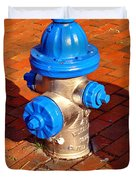 Silver And Blue Hydrant Duvet Cover