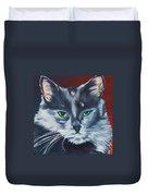 Silver Grey Cat Portrait Duvet Cover