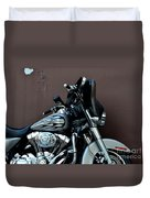 Silver Harley Motorcycle Duvet Cover