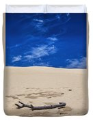 Silver Lake Dune With Dead Tree Branch And Cirrus Clouds Duvet Cover