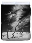 Silver Lake Dune With Dead Trees And Cirrus Clouds In Black And White Duvet Cover