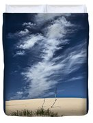 Silver Lake Dune With Grass Dead Trees And Cirrus Clouds Duvet Cover