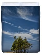 Silver Lake Dune With Tree Grove And Cirrus Clouds Duvet Cover