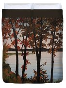 Silver Lake Through Autumn Trees Duvet Cover