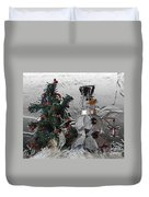 Silver Snowman With Christmas Tree Duvet Cover