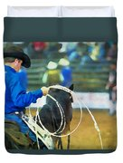 Silver Spurs Rodeo Outrider Duvet Cover