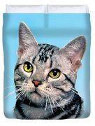Silver Tabby Kitten Original Painting For Sale Duvet Cover