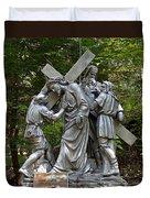 Simon Helps Jesus Duvet Cover
