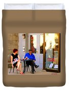Simplement Dliche Cupcakes Et Ice Tea Bistro Rue St Denis Plateau Montreal Cafe Scene Carole Spandau Duvet Cover