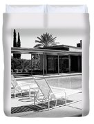Sinatra Pool Bw Palm Springs Duvet Cover