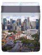 Singapore Central Business District Over Chinatown Area Duvet Cover