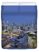 Singapore Central Business District Over Chinatown Blue Hour Duvet Cover