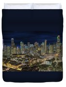 Singapore Central Business District Skyline And Chinatown At Dus Duvet Cover
