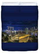 Singapore Central Business District Skyline At Dusk Duvet Cover