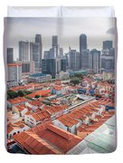 Singapore Chinatown With Modern Skyline Duvet Cover