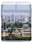 Singapore City Aerial View Duvet Cover