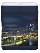 Singapore City By The Fullerton Pavilion At Night Duvet Cover