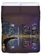 Singapore City Skyline Along Marina Bay Boardwalk At Night Duvet Cover