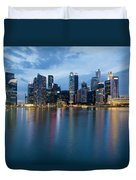 Singapore City Skyline At Blue Hour Duvet Cover