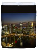 Singapore City Skyline At Dusk Duvet Cover
