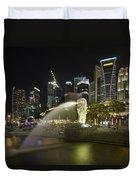 Singapore City Skyline At Merlion Park Duvet Cover