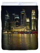 Singapore City Skyline At Night Duvet Cover