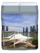 Singapore City Skyline From The Esplanade Duvet Cover