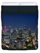 Singapore Cityscape At Blue Hour Duvet Cover