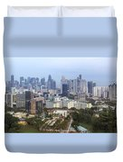Singapore Financial District Skyline At Dusk Duvet Cover