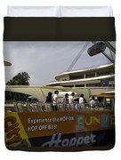 Singapore Flyer Along With The Sight-seeing Bus That Takes Tourists Around The City Duvet Cover