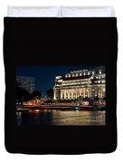 Singapore Fullerton Hotel At Night 02 Duvet Cover