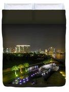 Singapore Night Skyline From Marina Barrage Duvet Cover