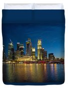 Singapore River Waterfront Skyline At Blue Hour Duvet Cover