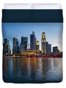Singapore River Waterfront Skyline At Sunset Duvet Cover