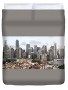 Singapore Skyline Along Chinatown Area Duvet Cover