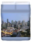 Singapore Skyline Along Chinatown Evening Duvet Cover