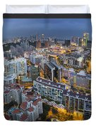 Singapore Skyline Along Singapore River Duvet Cover