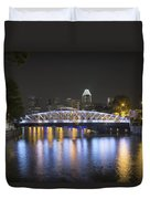 Singapore Skyline By Anderson Bridge At Night Duvet Cover