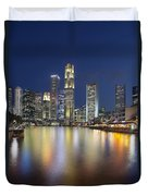 Singapore Skyline By Boat Quay Vertical Duvet Cover