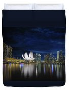 Singapore Skyline By River Waterfront At Dusk Duvet Cover