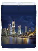 Singapore Skyline From Boat Quay Duvet Cover