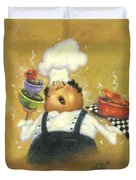 Singing Chef In Gold Duvet Cover
