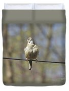 Singing His Heart Out - Carolina Wren - Thryothorus Ludovicianus Duvet Cover