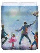 Singing In The Rain Super Hero Kids Duvet Cover