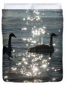 Singing Trumpeter Swans Duet  Duvet Cover