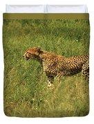 Single Cheetah Running Through The Grass Duvet Cover