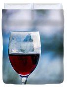 Single Glass Of Red Wine On Blue And White Background Duvet Cover