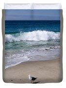 Single Seagull On The Beach Duvet Cover
