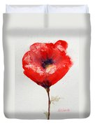 Single Red Anemone Duvet Cover