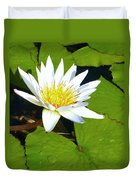 Single White Water Lily Duvet Cover